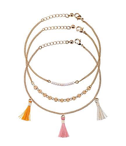 SIX Armbänder Damen im 3er Set: Tassel-, Perlen-, Plättchen-Armband individuell einsetzbar als Armkette, Boho Schmuck, Hippie Accessoires (782-234)