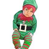 Togelei Baby Long Sleeve Weihnachten Gestickte Strampler + Gestreifte Beine + Hut Drei Stück Set Infant Baby Jungen Mädchen Weihnachten XMAS Stickerei Strampler Leggings Hut Outfits Set