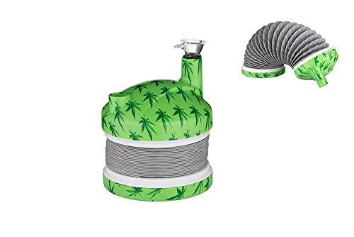 Green Clawn - Jiffer Inc. Flex-Bong - Bong in grünes Hanfdesign, Ø 11 cm - leise blubbernd & sanft rauchend -