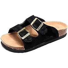 Mujer Sandalias Chanclas Mulas para Zuecos De Corcho Hombre Correa Gamuza  Ajustable Hebilla Zapatos Planos del 2dacf1e75bfc