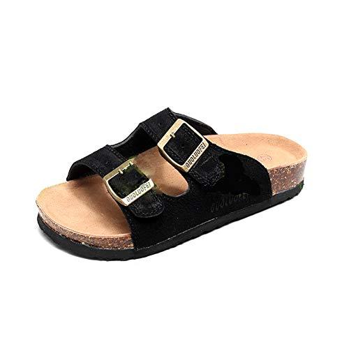 Sandali uomo sughero ciabatte donna infradito pantofole spiaggia leggero supporto morbida suola piatta zoccoli (38/39 eu, nero 2,40 taglia etichetta)