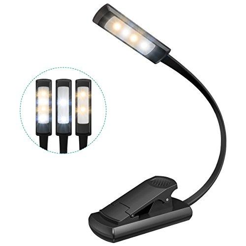 Oria Leselampe Klemmleuchte, Wiederaufladbar LED Buchlampe, Buch Licht Leseleuchte mit 3-Stufe Helligkeit, Clip und USB-Kabel, Tragbare und Flexibel, Leselicht für Nacht Lesen, Kindle, eBook, etc