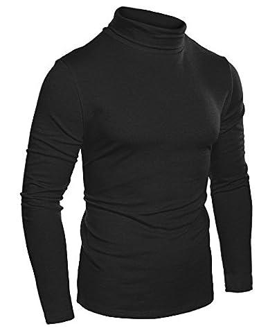 Aulei Hemd Herren T Shirt Schwarz Langarm Slim Fit Hemden