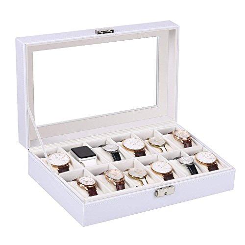 Amzdeal orologio scatola bianca nella capacità 12 orologi, fabbricazione di pelle e bloccabile