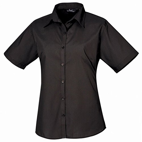 Femmes Chemisier en popeline à manches courtes chemise pour femme Coloris uni Noir - Noir