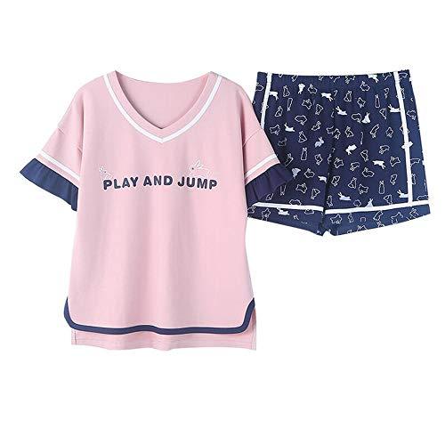 Meaeo Las Mujeres Del Algodón Modal Pijamas Establecen La Impresión De La Historieta Ropa De Noche O-Cuello Femenino Top + Shorts Prendas De Vestir Exteriores Ropa, L (Prendas De Vestir)