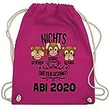 Shirtracer Abi & Abschluss - 3 Affen Emojis ABI 2020 - Unisize - Fuchsia - WM110 - Turnbeutel und Stoffbeutel aus Bio-Baumwolle