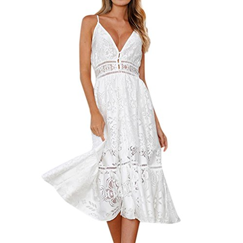 VJGOAL Damen Kleid, Dame Mädchen Mode V-Ausschnitt Blumenspitze Kurzarm Sleeveless Sling Party Sommer Strand Kleid Frau Geschenk (M, Weiß)
