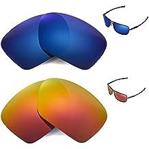 walleva polarizadas Fire Rojo + Ice Azul Lentes de repuesto para Oakley Plaintiff Squared Gafas de sol