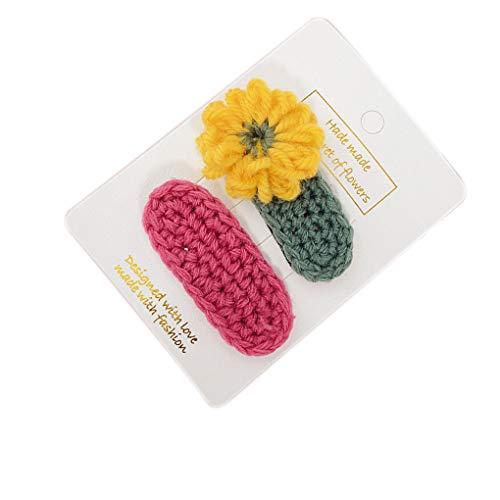 Jinzuke 2ST / Set Kind-Mädchen-Woven-Blumen-Haar-Baby-Kind-Haar-Bang Pin Klemme Klaue Kopfschmuck Clip