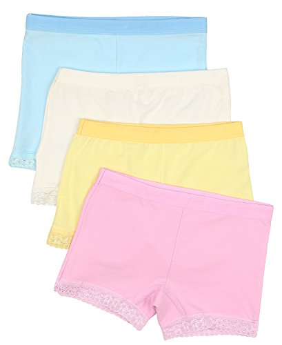 Espoy Girls Knickers Underwear Briefs 4 Packs Back To School Lace 100% Cotton Panties Cute Multipack UK 2-10 Years (Pack Of 4)