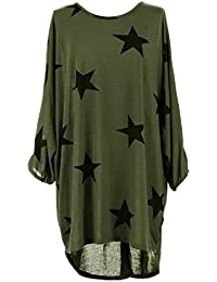 Women Ladies Star Printed Batwing Low Back Plain Baggy Tunic Top Dress Plus Size