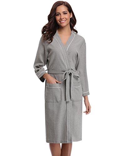 Aibrou Unisexe Kimono Tissage Gaufré Femme Peignoir de Bain Femme Homme 100% Coton Waffle Robe de Chambre col V Pyjama pour l'hôtel Spa Sauna Vêtements de Nuit(Gris XL)