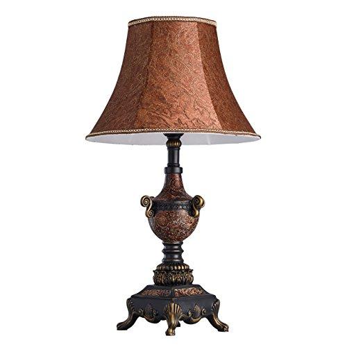 Chiaro 254031601 Lampe à Poser Classique en Fer Forgé Déco en Polyrésine Abat-jour Peint à la Main pour Salon 1x60W E27