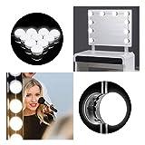 Tobbiheim Hollywood Spiegelleuchte LED Spiegelbeleuchtung 10 Dimmbare Glühbirnen USB Betrieben 7000K