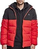Urban Classics Herren Winterjacke Daunenjacke Hooded 2-Tone Puffer Jacket, Steppjacke gefüttert, mit Kapuze, firered/blk, M