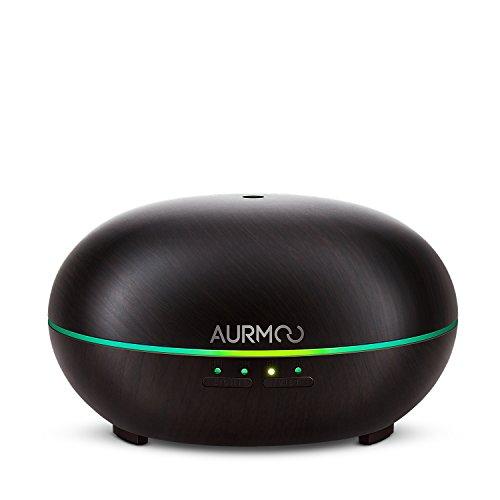 Aroma Diffuser Aromatherapie Diffusor 300ml, AURMOO Ultraschall Aroma Luftbefeuchter Holzmaserung mit 7 LED Farbe und Auto Abschaltung, für Spa Office Wohnzimmer