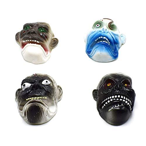 Amosfun 4 stücke Halloween Scary Masken Geist Gesicht handpuppe weiche realistische Rolle Spielen Geschenk Spielzeug für Halloween Maskerade Party Cosplay (zufälliges Muster) (Scary Halloween Geist Spiele)