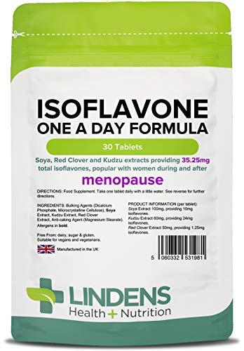 Lindens ISOFLAVONE UNA AL GIORNO FORMULA ( soia Compresse 30 Confezione UK produttore adatto per vegani e vegetariani