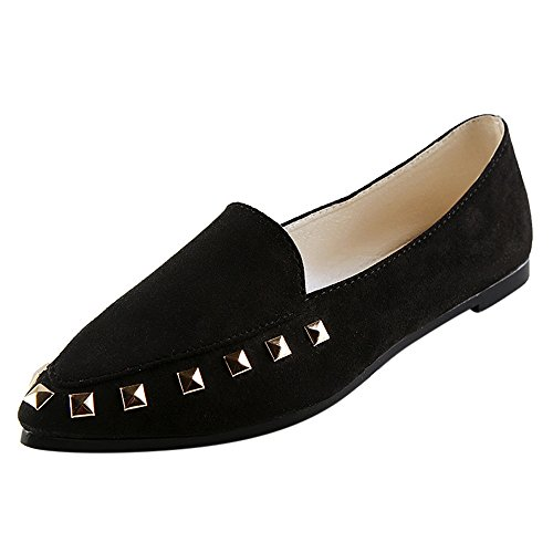 Erbsenschuhe Damen, DoraMe Frauen Nieten Komfort Flache Schuhe Solide Weiche Slip-On Casual Bootsschuhe Kunstleder Bequeme Einzelne Schuhe (EU:39/CN:40, Schwarz) (Leder High Heels Converse)