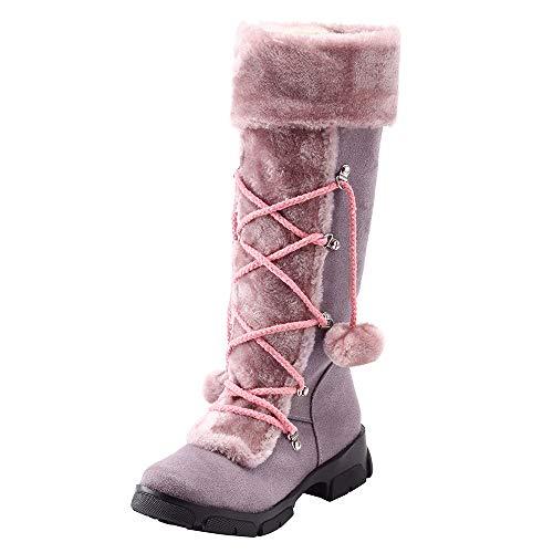 UFACE Damen Wildleder Haarballen Round Toe Platz Ferse Schuhe Warm Zipper Schnee Stiefel