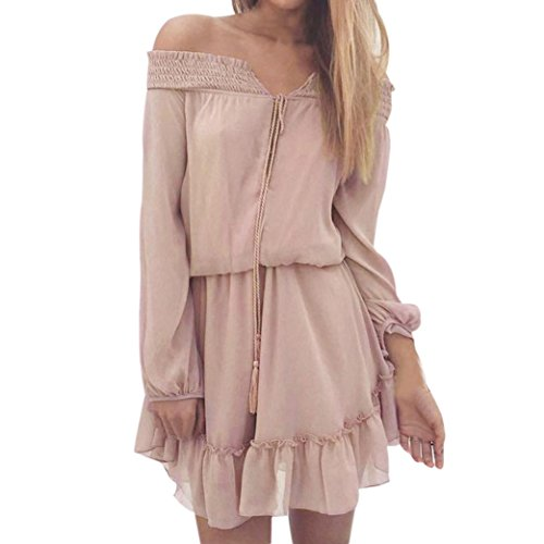 KanLin Damen Lässige Chiffon Sexiness von Slash Neck Bohemian Dress Rosa