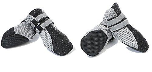 4 Stück Soft Haustier Schuhe Bootes für kleine Hunde Durable Alle Wetter Hundeschuhe Haustier Stiefel Pfotenschutz für Hund Boots Mesh Design (Leben Walker Schuhe)