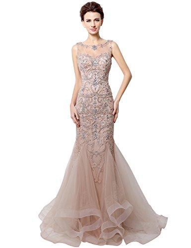 Sarahbridal Damen Bodenlang Mermaid Tuell Abendkleider Perlen Paillette Ballkleid Partykleider SLX006