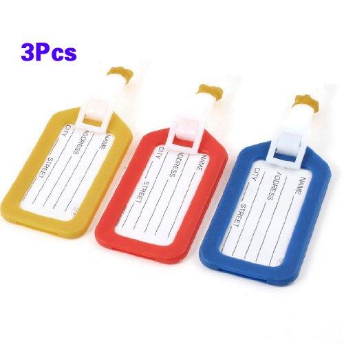 Sonline Koffer-/Gepäckanhänger, Adressenschild, Informationsschild aus Hartplastik, Rucksack, Gepäck Rot, Gelb, Blau, 3 Stück -