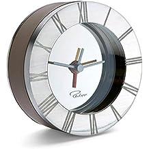 Philippi 'Allegro' despertador de alarma Marrón Cuero Viaje Reloj Níquel