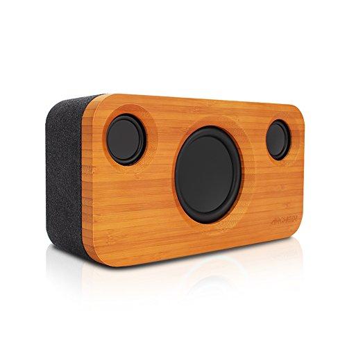Altavoz Bluetooth Inalambrico 25W de Bambú, Altavoz Estéreo Bluetooth 4.0 con Subwoofer, Portátil Altavoces para Casa, Dormitorio, Sala y Fiesta