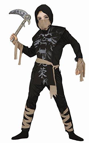 Kostüme 3 Halloween Ninjas (KINDERKOSTÜM - SKELETT NINJA - Größe 95-100 cm ( 3-4 Jahre)
