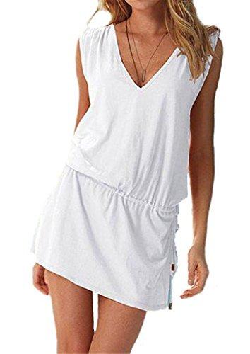 ERGEOB Damen tiefem V-Ausschnitt Öffnen Rückseite Strand Bikini Vertuschung Kleid Strand Rock Weiß