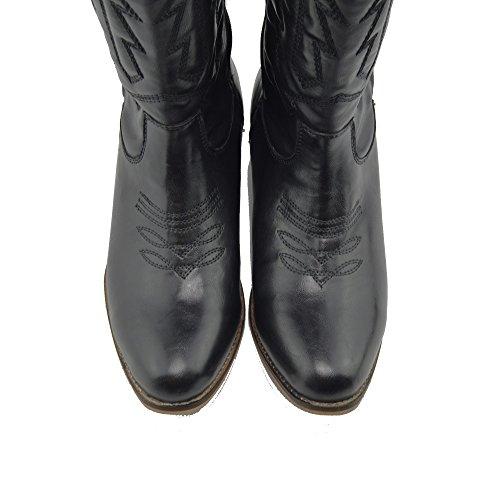 Ladies Designer Cowboy Biker Boots Womens Mid Calf Block Heel Riding Black-SB