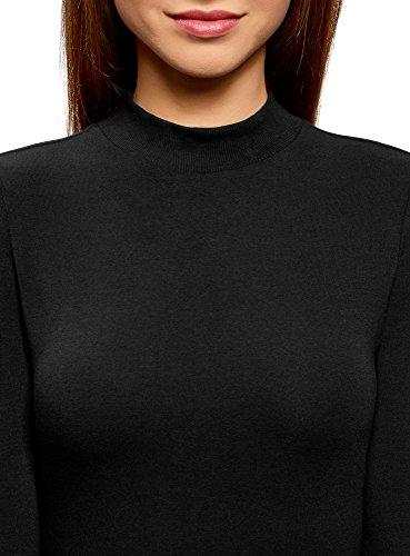 oodji Ultra Femme Col Roulé en Coton sans Étiquette à Manches 3/4 Noir (2900N)