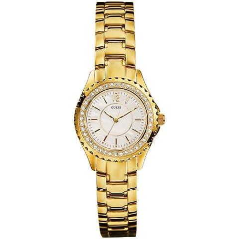Guess Sport Steel - Reloj analógico de mujer de cuarzo con correa de acero inoxidable dorada - sumergible a 30