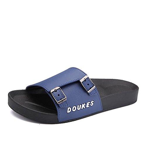 Jiuyue-shoes, Mens Wide Band Slipper Fashion Slide Sandalen mit Doppel Metallschnallen Mini-Plattform,Herren Sandalen (Farbe : Blue, Größe : 41EU) (Die Euro-slide)