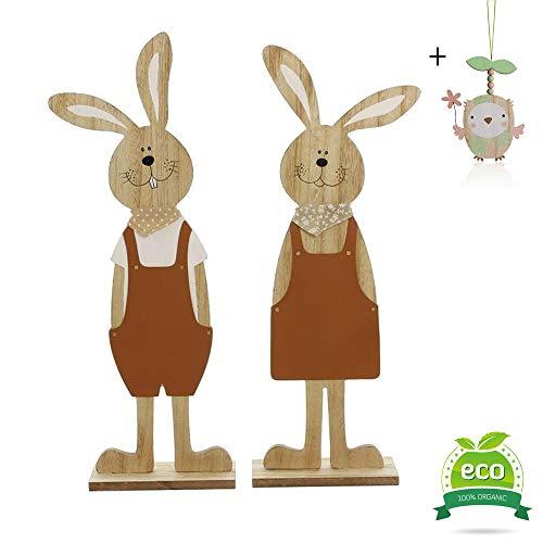 Embellissements Pâques 2PC, Morbuy En Bois Mignon Lapin Poussins  Décorations Décor à La Maison Décorations