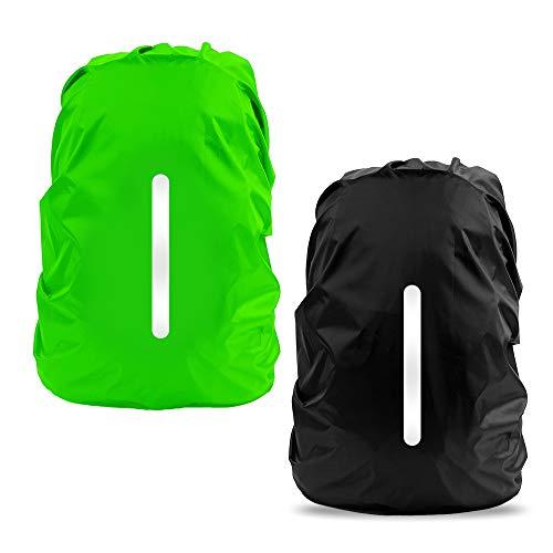 LAMA Regenschutz Rucksack Wasserdichte 2 Stück Regenhülle Schulranzen mit reflektierende Streifen verstellbare Schnalle für Wandern Klettern Camping Reisen Outdoor Aktivitäten L 45L-55L Schwarz Grün