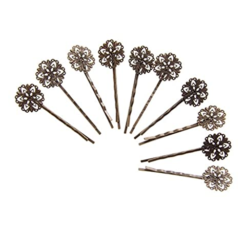 10 Vintage Handmade Hair Bobby Pins/Accessories Grips Slides - Antique