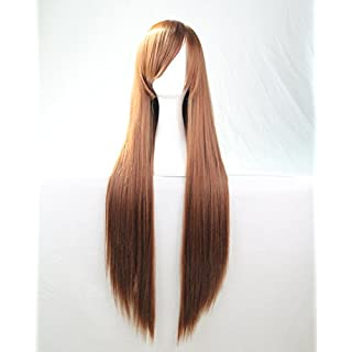 Womens Ladies Girls 80cm Orange/Ginger Color Long Straight Wigs High Quality Hair Carve Cosplay Costume Anime Party Bangs Full Sexy Wigs