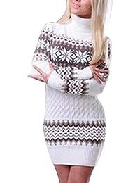 5b6872e7b268e Dihope Femme Pull Robe en Tricot Col Roulé Elégant Bodycon Dress Casual  Tunique Pullover Manches Longues