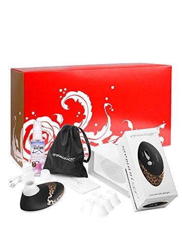 Womanizer Box: Womanizer Pro W500 schwarz/leopard + Gleitgel + 5 Silikonköpfe
