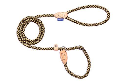 PROFTI Retrieverleine aus Nylon, Lederelemente, Zugstopp, große/kleine Hunde, 150cm lang (Schwarz/Gelb)