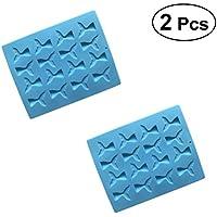 BESTONZON Molde Fondant de Silicona 16 Rejas 3D Colas de Sirena Moldes de Arcilla Polimérica para
