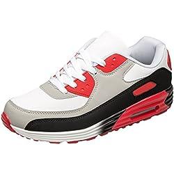 gibra Herren Sneaker Sportschuhe, Art. 7037, Sehr Leicht und Bequem, Weiß/Schwarz/Rot, Gr. 43