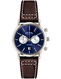 Rotary Men's Quartz Watch with Blue Dial Chronograph Display and Brown Leather Strap GS02730/05