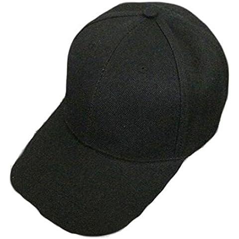 vovotrade Gorra de béisbol blanco sombrero de color solido adjustable Hat (negro)