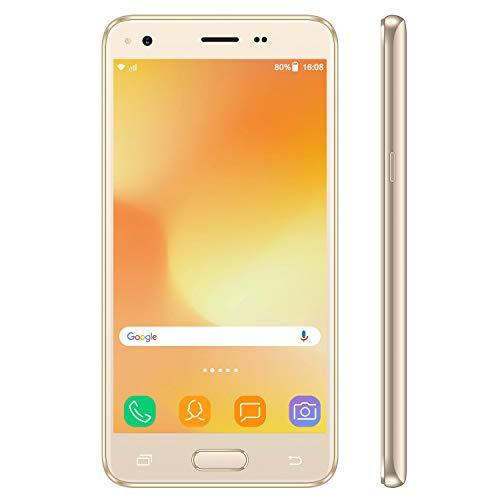 Smartphone Pas Cher 4G VMOBILE J5 5,5' HD IPS - 3Go RAM et 32Go ROM Téléphone Portable Débloqué Android 7.0 Face ID (Or) Dual SIM/WiFi/GPS Téléphone Portable Pas Cher sans Forfa