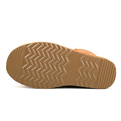 Shenduo Bottes hiver femme cuir(daim), Boots Classiques Mi-mollet doublure chaude DA5825 Marron